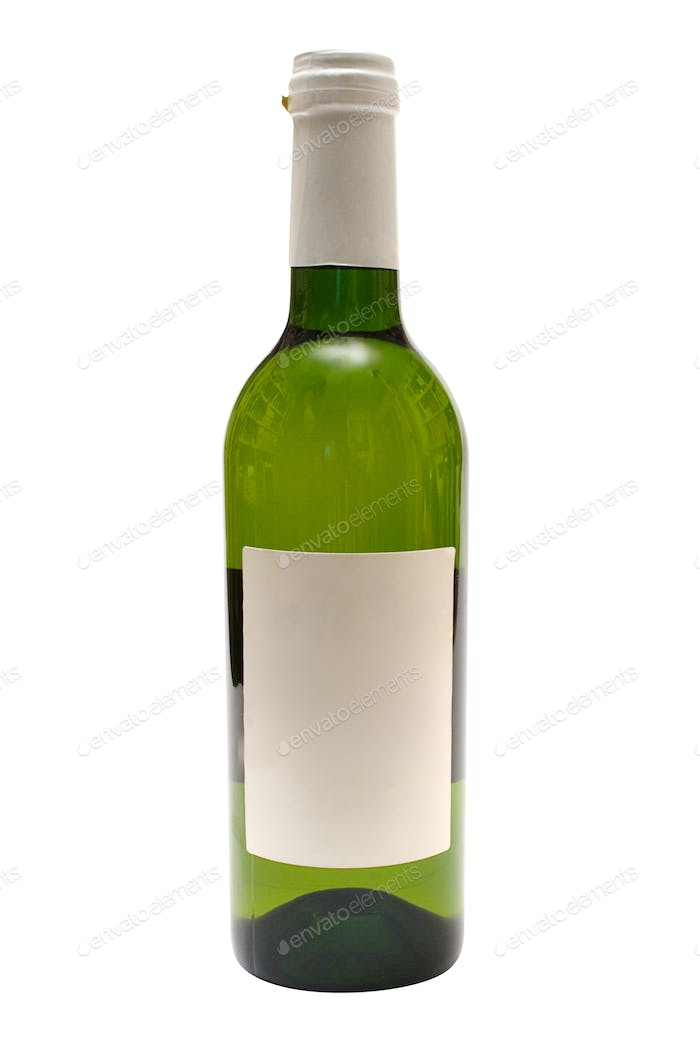 White Wine with Blank Label with Clipping Path Isolated on a White Background