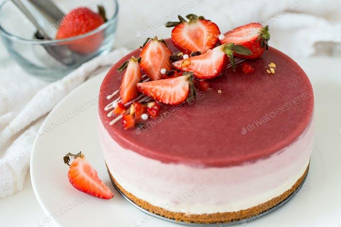 Kein Backen Erdbeer-Käsekuchen