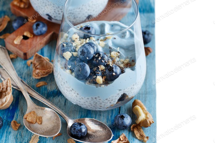 Blueberries and yogurt chia pudding parfait