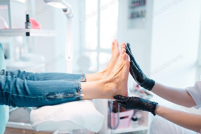 Beautician salon, foot massage procedure