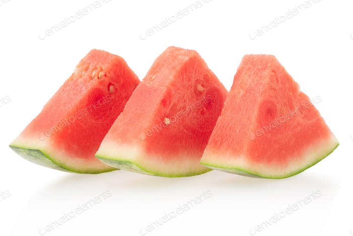Watermelon slices isolated on white, clipping path
