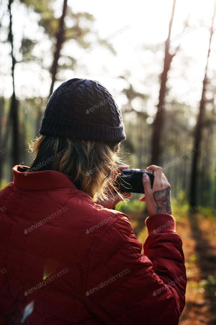 Photographer Camera Man Shooting Woods Nature Concept