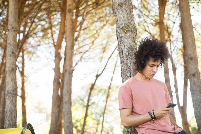 Young man using mobile phone at forest