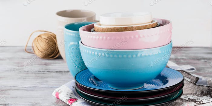 Ceramic crockery on wooden background