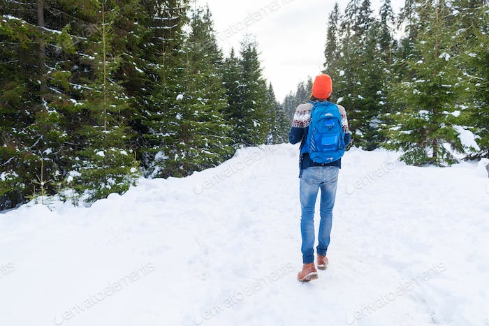 Man With Rucksack Walk Snow Forest Young Traveler Outdoor Winter