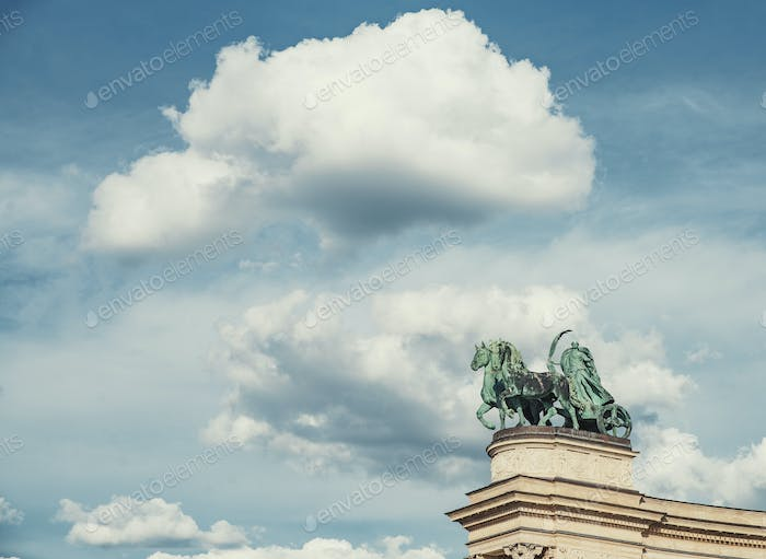 Symbolic sculpture of the Peace on the Hero Square Millennium Memorial in Budapest, Hungary