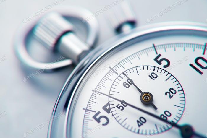 Classic metallic chrome mechanical analog stopwatch