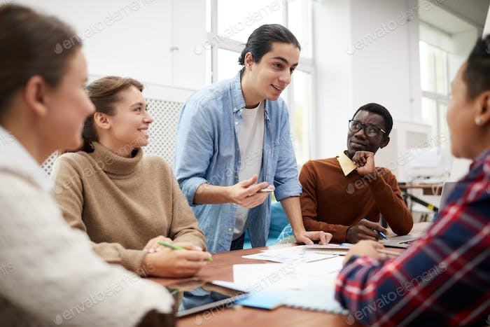 Students Discussing Group Project