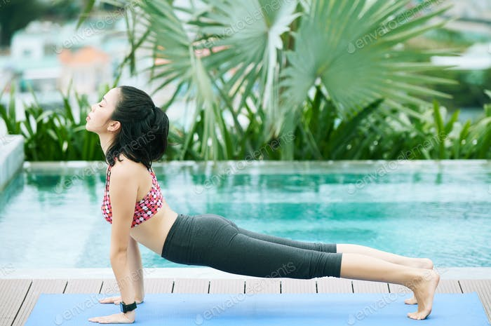 Woman training at resort