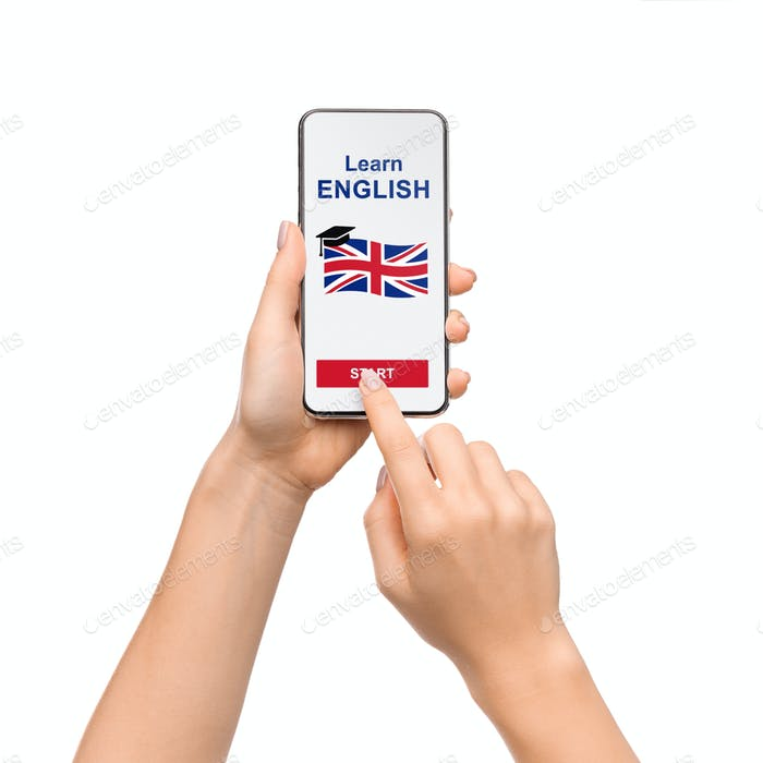 Woman Using Application On Smartphone For Learning English