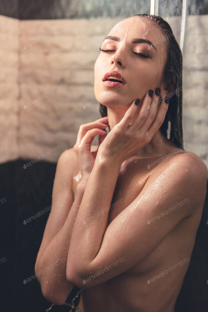 Girl taking shower