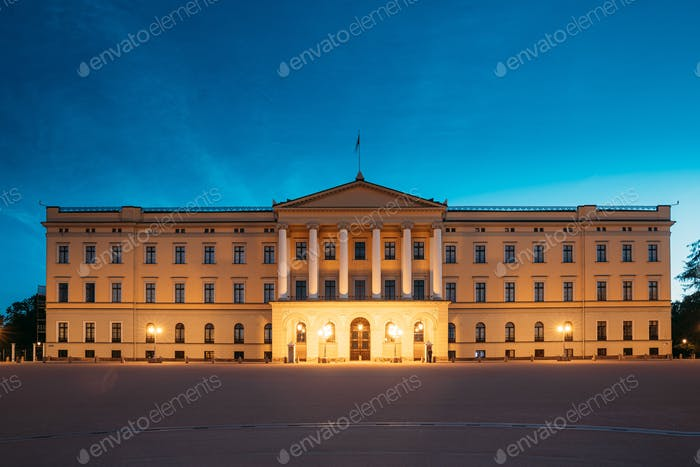 Oslo, Norway. Royal Palace - Det Kongelige Slott In Summer Evening. Night View Of Famous And Popular