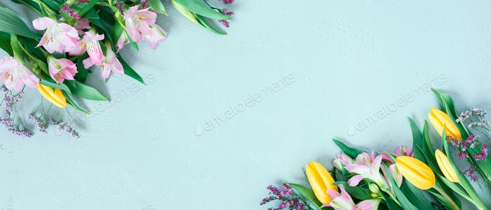 Blue Banner with Spring Flowers