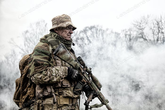 Brutal commando army veteran armed sniper rifle