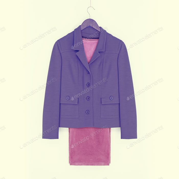 Suit, purple jacket and pink pants, vintage look