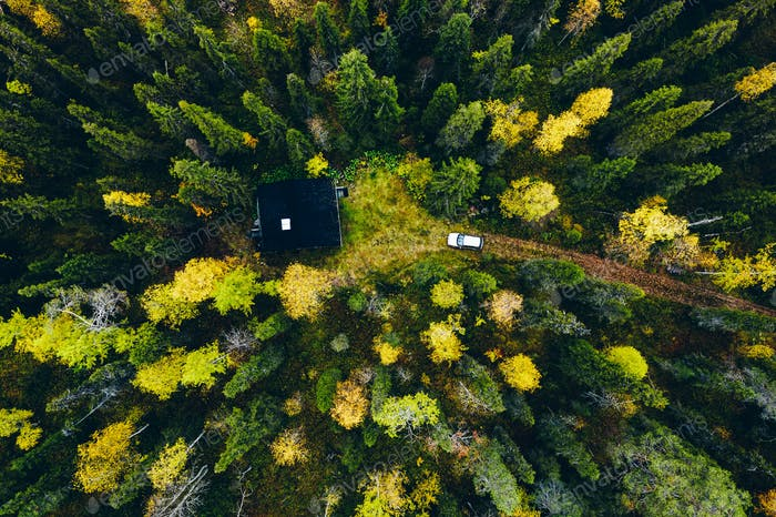 Aerial top view of log cabin or cottage with country road in spring forest in Finland