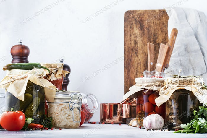 Fermented, pickled, marinated preserved vegetarian food