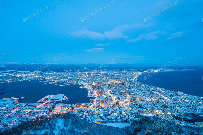 Beautiful landscape and cityscape from Mountain Hakodate for loo