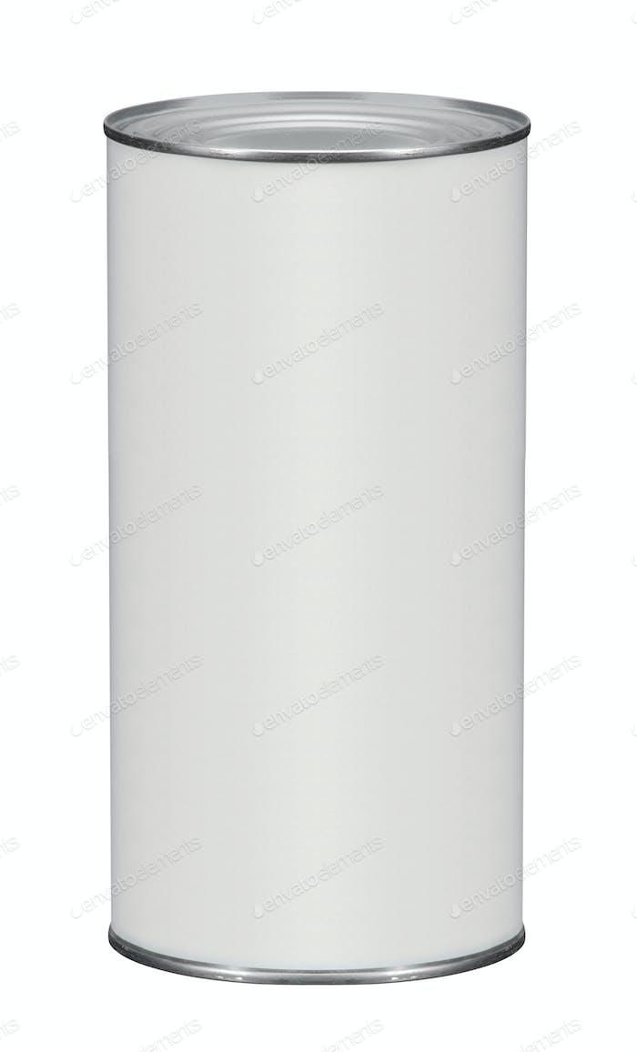 white tin can on white background