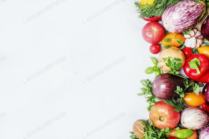 fresh vegetables and herbs