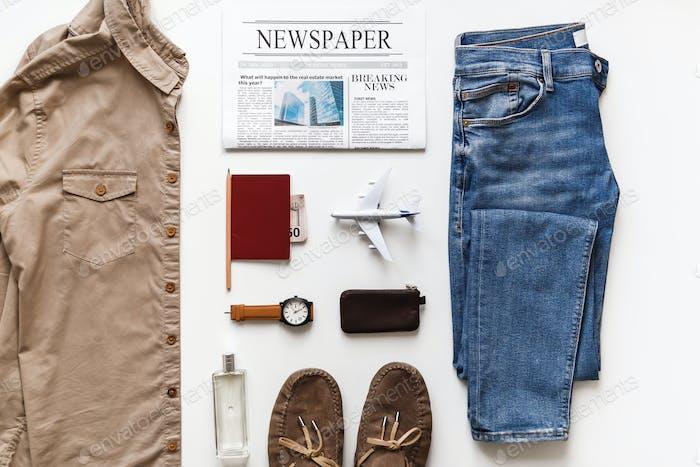 Lässige männliche flache lag hipster mode kleidung und accessoires set isoliert auf weiß
