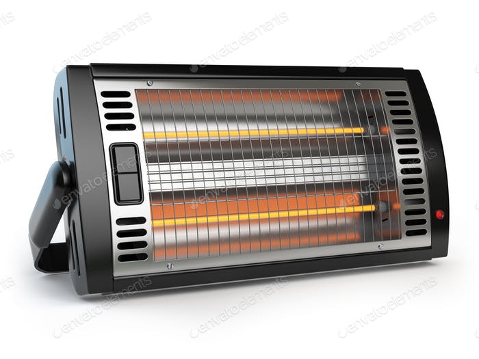 Halogen or infrared heater isolated on white background.