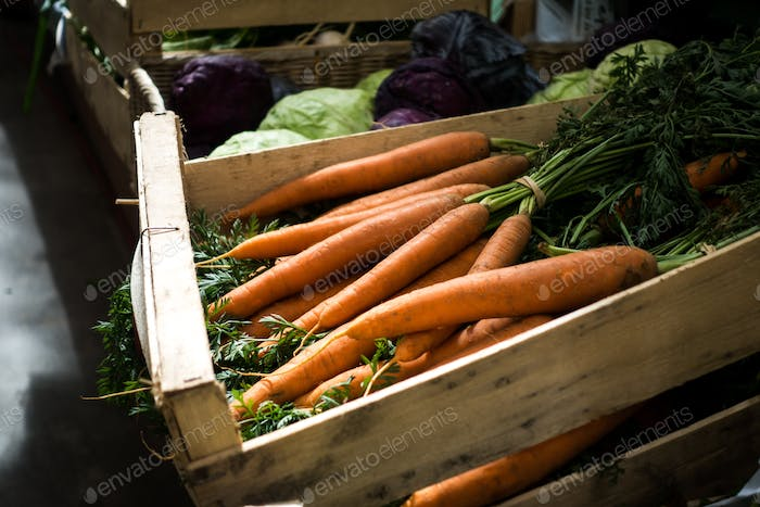 Fresh carrots on farmers market