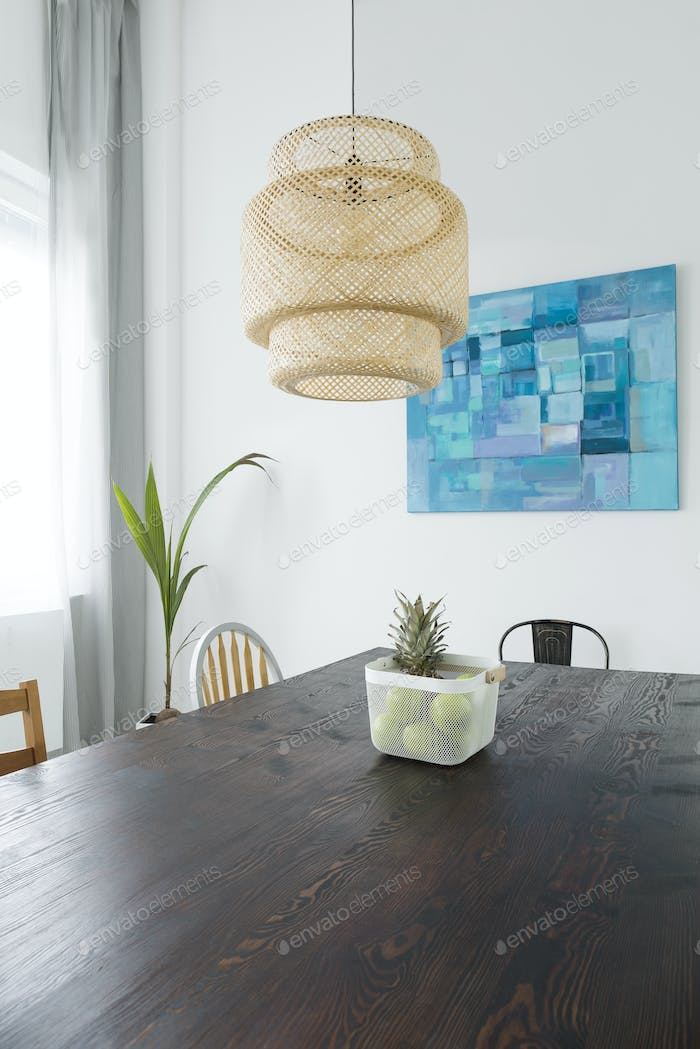 Dining room with wood table