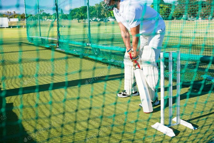 Low section of man playing cricket at field