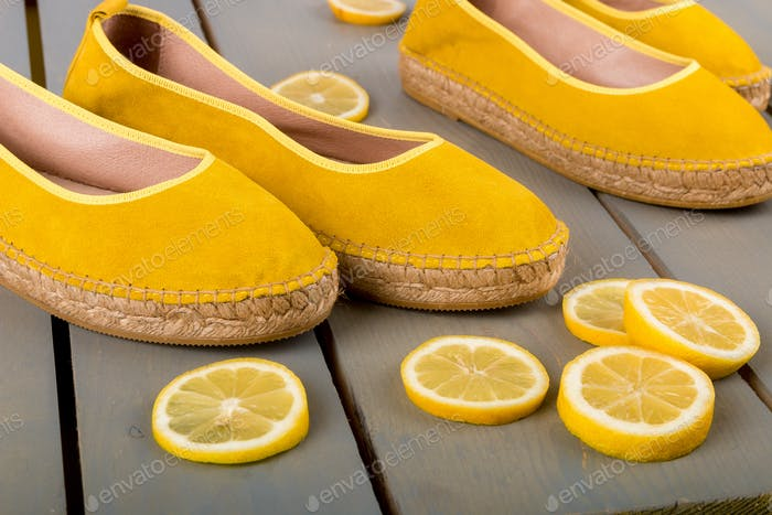 Yellow espadrilles shoes