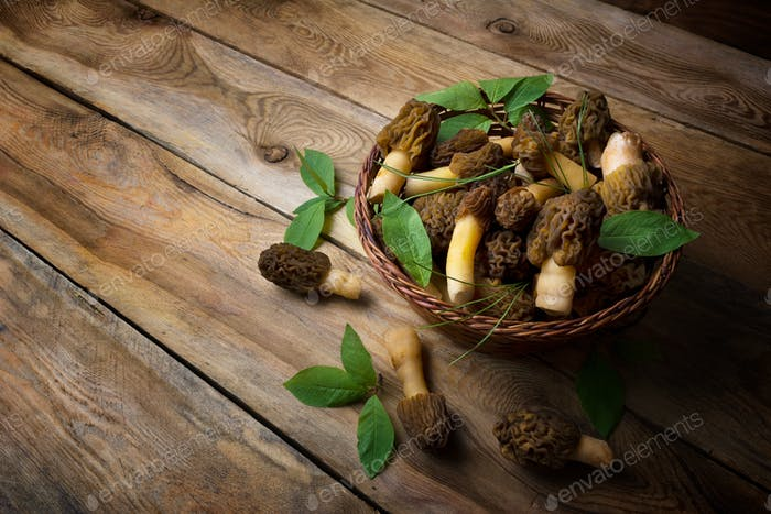 Wicker basket with morel mushrooms on the rustic background