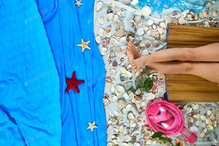 Top view of imitates summer sea beach vacation at home quarantine.
