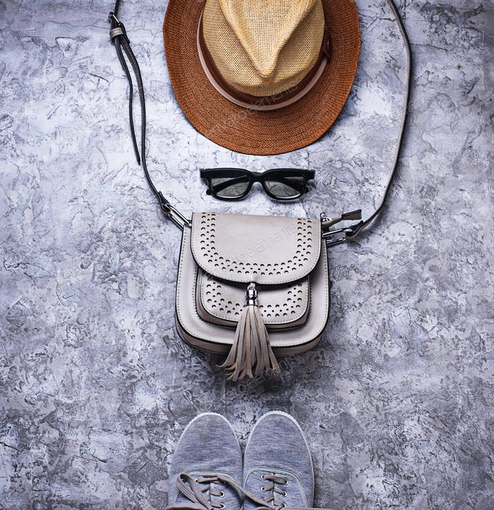 Sneakers, bag, sunglasses and hat.