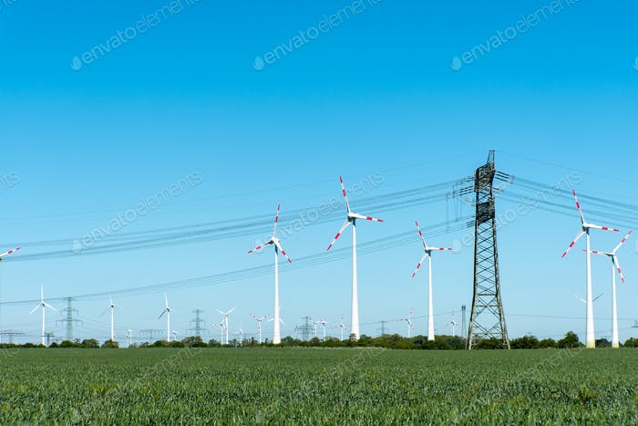 Wind power plants and power transmission lines