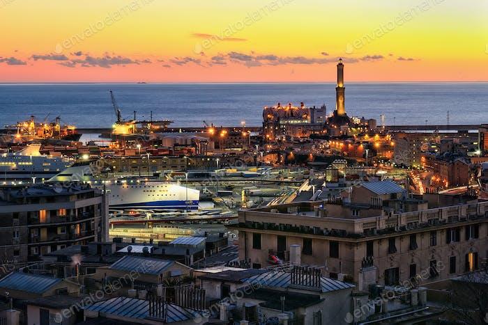 view of Genoa harbor at sunset