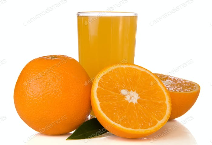 juice and oranges isolated on white