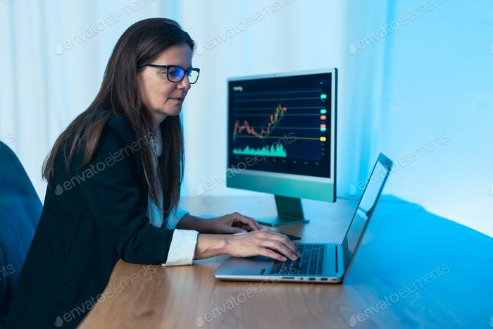 Business trader woman working on crypto currency markets with blockchain technology