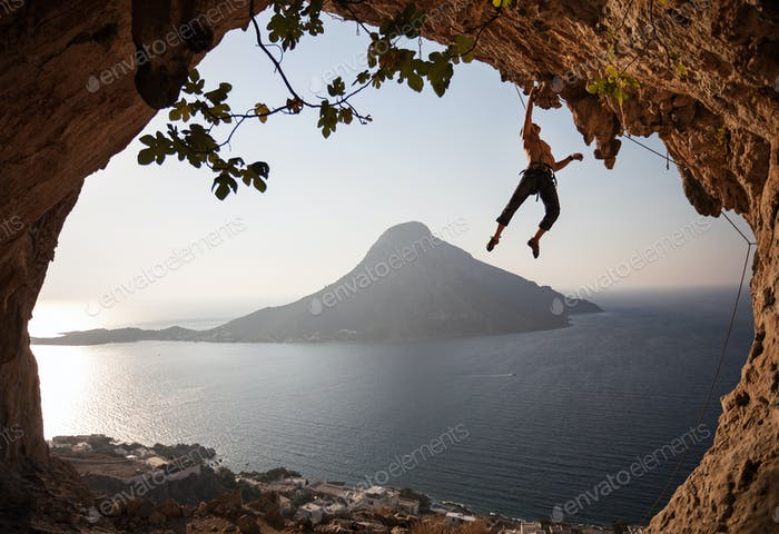 Rock climber at sunset. Kalymnos Island, Greece