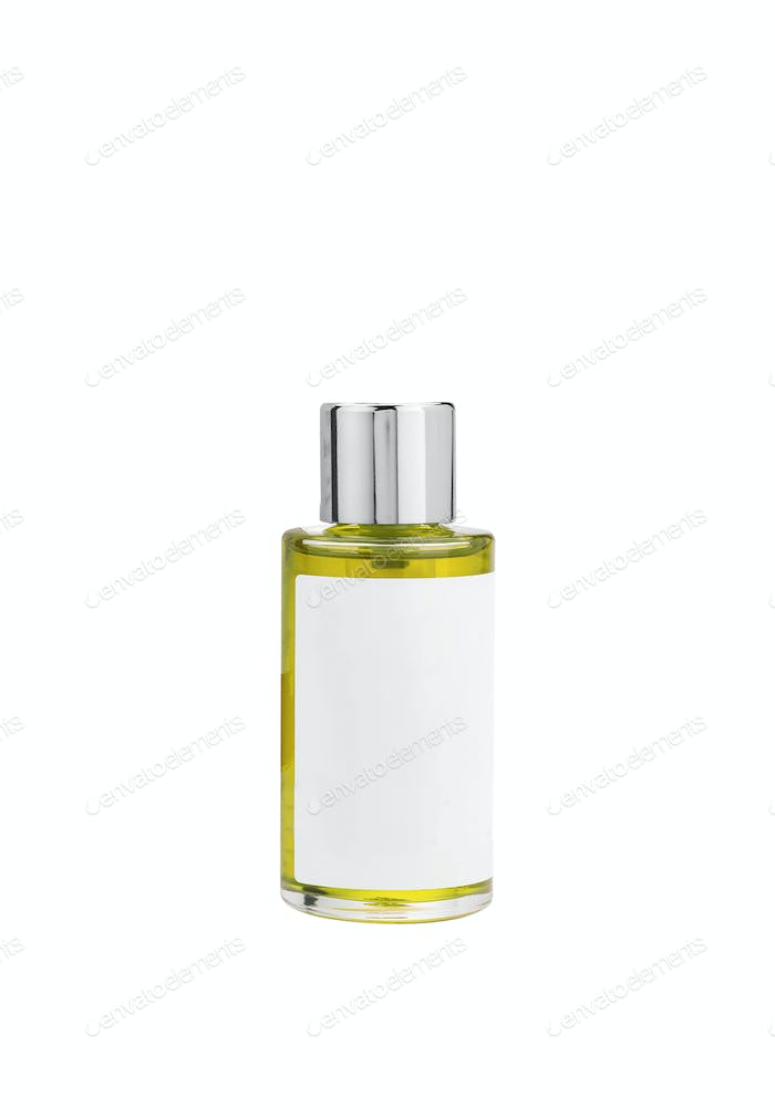 Parfume yellow bottle isolated