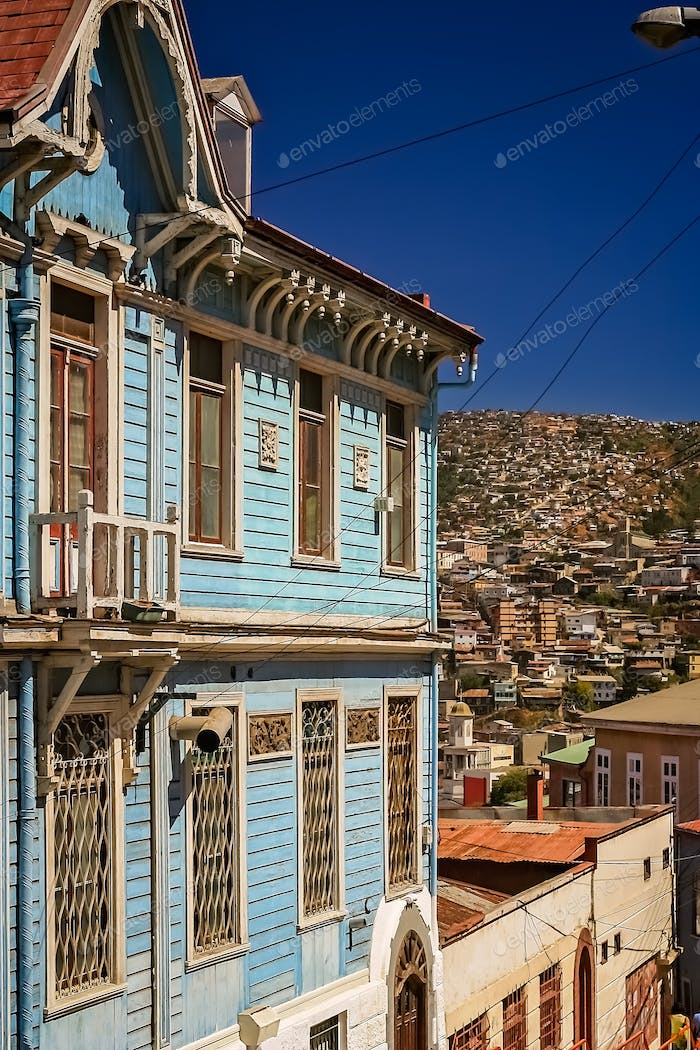 Old blue house facade in Valparaiso