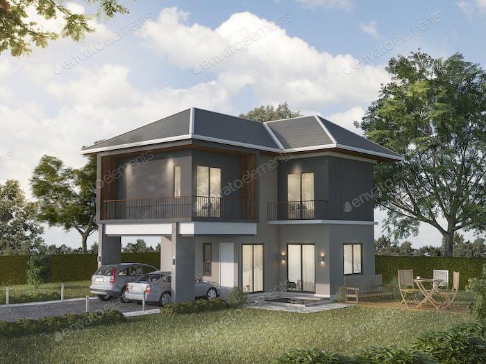 3d rendering beautiful shadow grey house