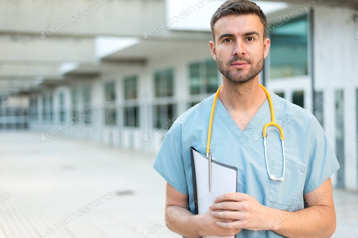 male nurse vet with stethoscope