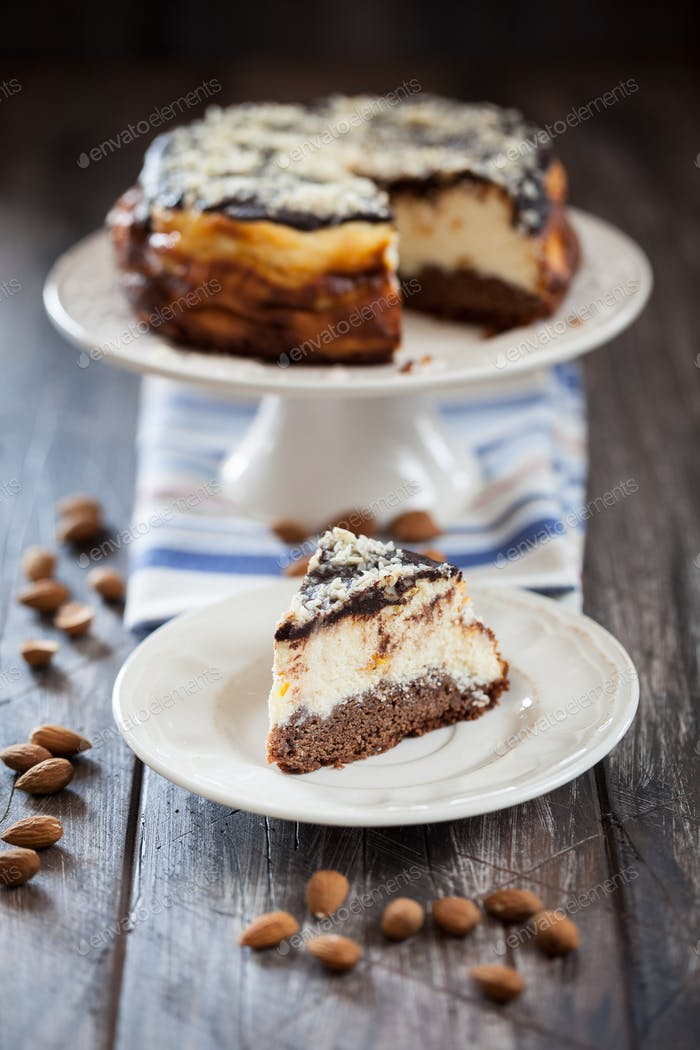 Traditional cheesecake with chocolate topping