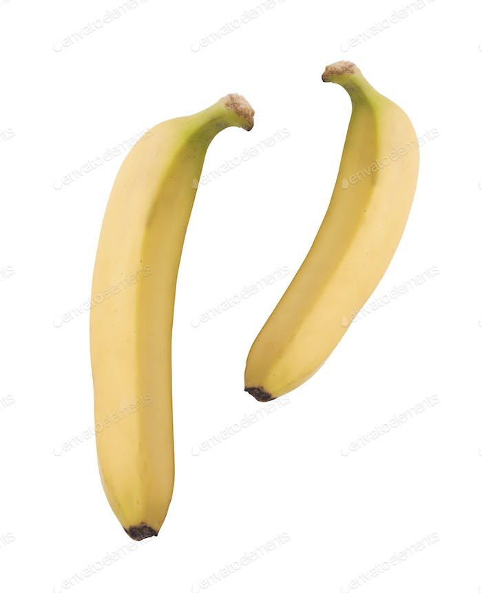 Two ripe bananas isolated on white