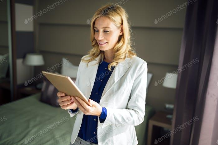 Elegant business woman on business trip