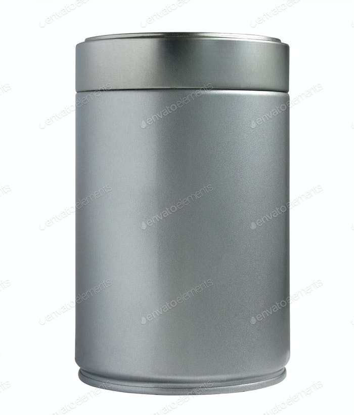 Metallic thin can container cylinder form isolated
