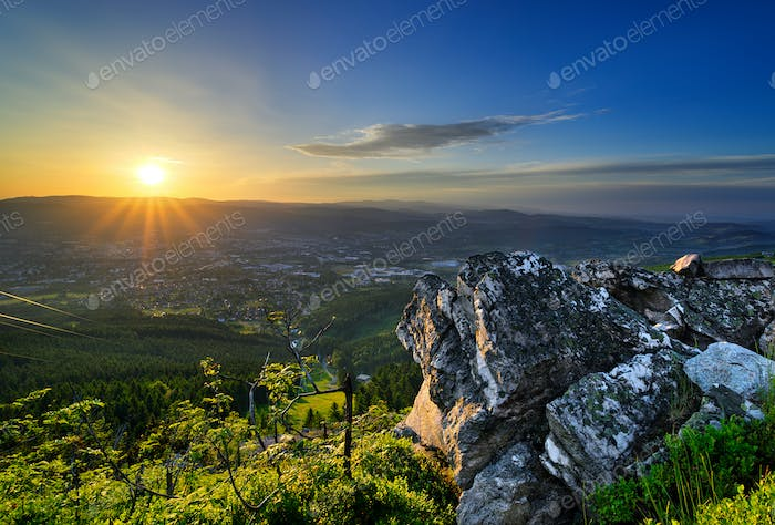 Amazing view from Jested mountain peak during summer day. Liberec, Czech republic.