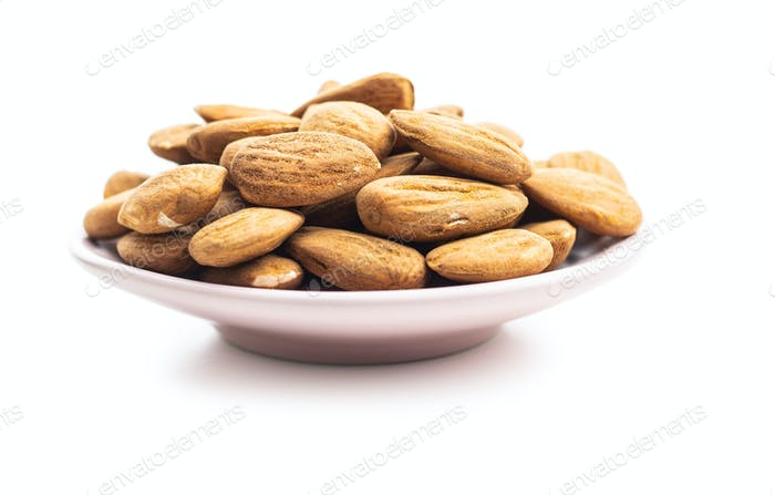 Dried almonds nuts.