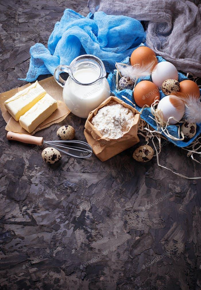 Ingredients for baking. Milk, butter, eggs, flour