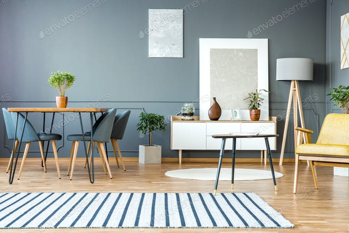 Grey apartment interior with paintings